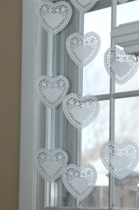 I love these easy and beautiful Doily Valentine Decorations from Smashed Peas and Carrots!
